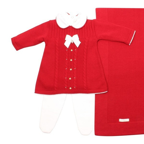 Saída De Maternidade Menina Pliss Vermelho Petit Mouton