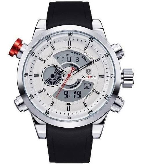 Relógio Masculino Weide Anadigi Wh3401 Preto, Prata E Branco