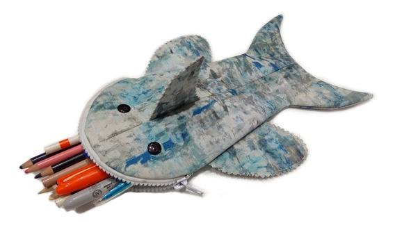 Lapicera Kawaii De Tiburón Pez Cartera Kawaii Cosmetiquera