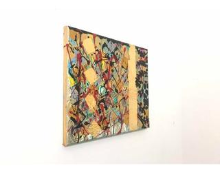 Cuadro Decorativo Pintura Acrílica Hoja De Oro 30 X 25 Cm
