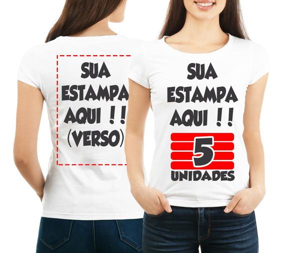 Kit 5 Camisetas Personalizada Frente E Verso Com Sua Estampa
