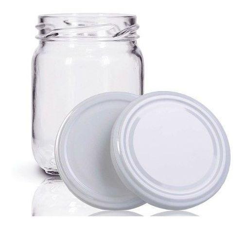 48 Potes De Vidro Conserva 200 Ml Com Tampa Branca + Lacre