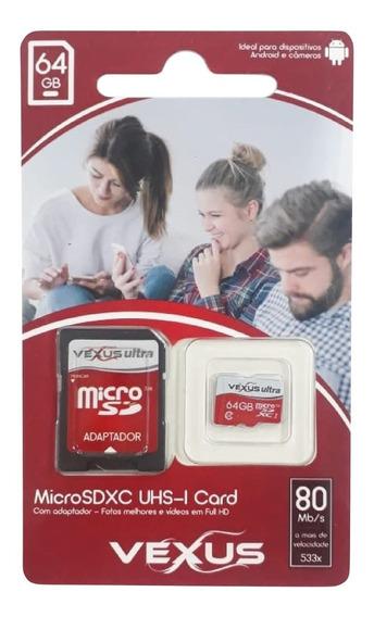 Cartão De Memória Micro Sd Classe 10 Original 80mb/s 64gb