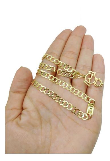 Cordão Com Pingente Menina Com 8,5 Gramas Em Ouro 18k