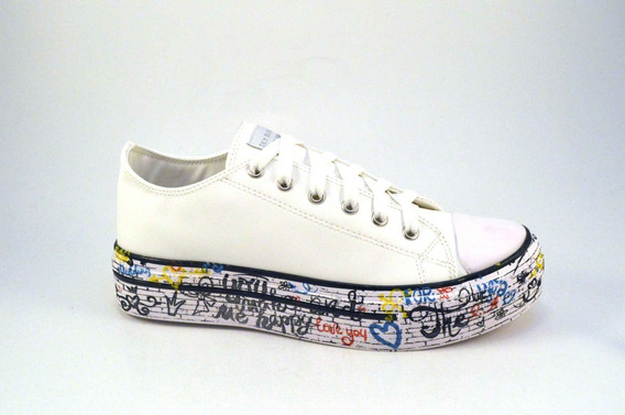 Zapatilla Plataforma Cordones Base Grafitti By Lima Limon