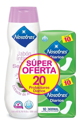 Oferta Jabon Intimo Nosotras X 200ml+20 Protectores