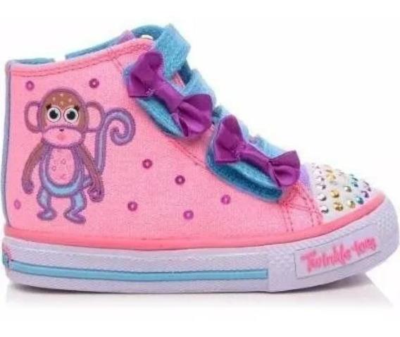 Tênis Skechers Infantil Twinkle Toes Glitter Com Luzes 1043