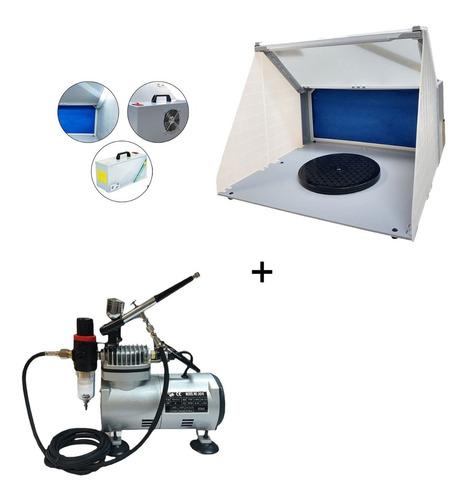 Mini Cabine Aerografia Bivolt Com Led + Kit Aerografia