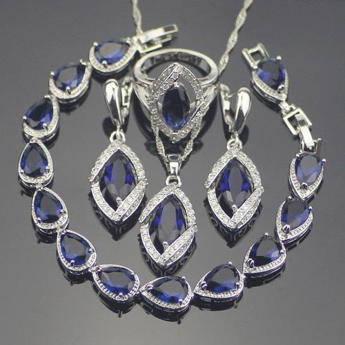 Hermoso Juego/set/sistema Anillo Collar Aretes Azul