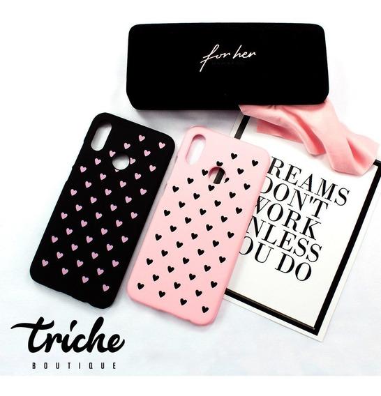 Funda Case Diseño Corazones Dama Negro Rosa Huawei P20 Lite