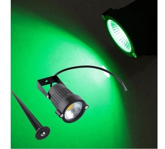 Refletor Espeto Luminária P Jardim Led Cob 9w Verde
