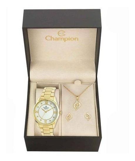 Relógio Champion Feminino Analógico Cn25038w + Kit Bijuteria