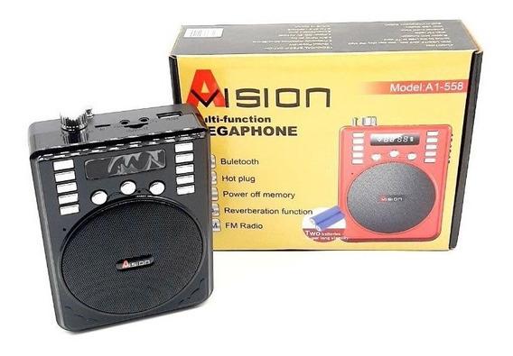 Caixa Som Portátil Microfone Megaphone Bluetooth Usb Rádio