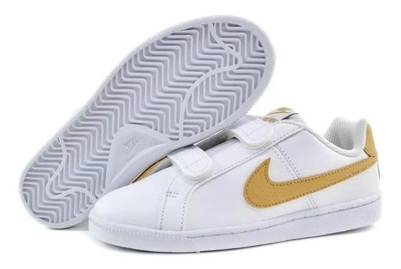 Tenis Nike Escolar Niños Court Royale Piel Genuina Original