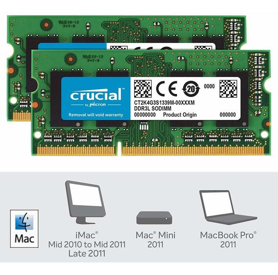 Memoria Mac Para Mac 8gb Kit (4gbx2) Ddr3 Pc3-10600 Crucial