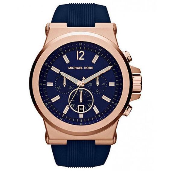 Relógio Michael Kors Dylan Rose Mk8295 Azul Rose 48mm
