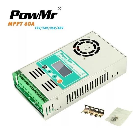 Controlador De Carga Powmr 60a Mppt 12v/24v/36v/48v (brinde)