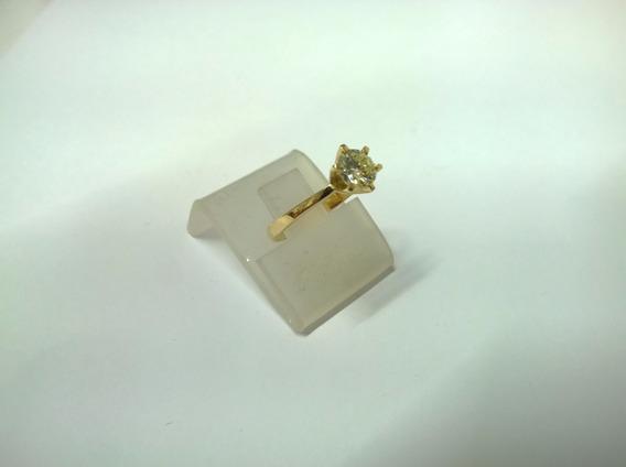 Anel Solitário Em Ouro 750 C/ 85 Pontos De Brilhante