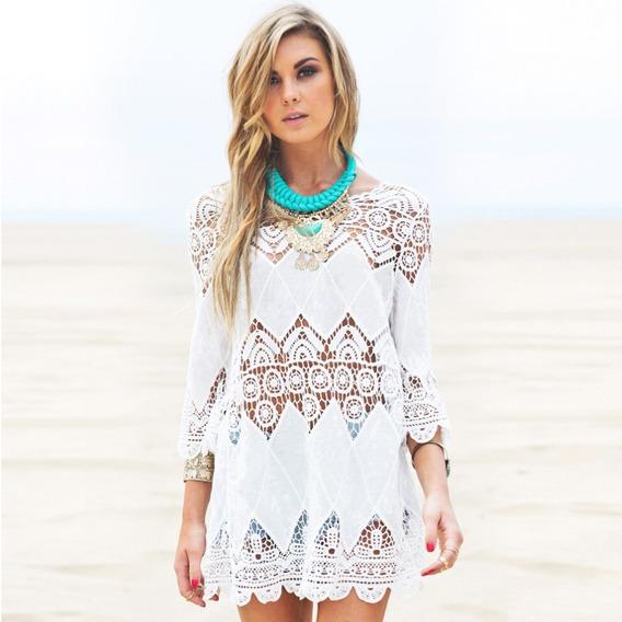 Vestido Saída De Praia Em Renda Á Pronta Praia Verão