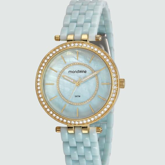 Relógio Feminino Azul Bebê Mondaine Analogico Com Pedras
