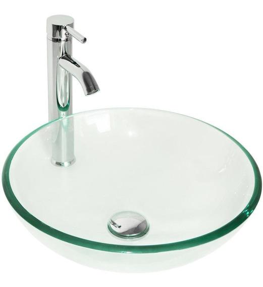 Round Bowl + Chrome Faucet - Vidrio Templado Buque Freg-2996