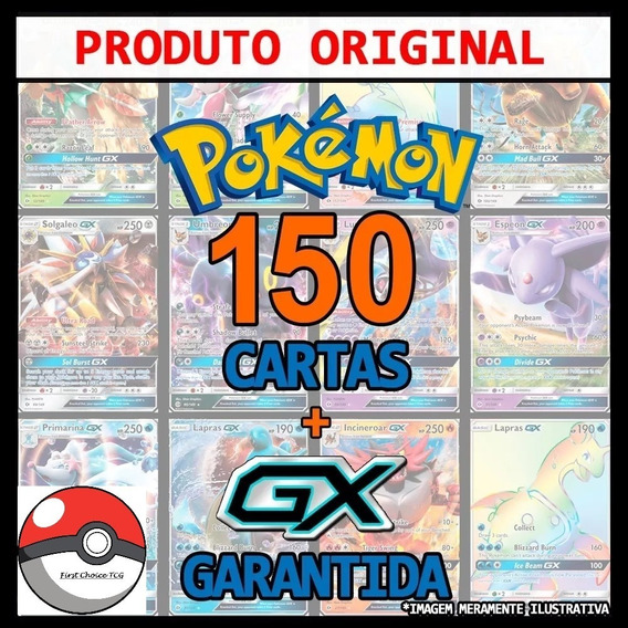 Kit Lote Pokémon 150 Cartas + Gx + Lendário + Brinde Top