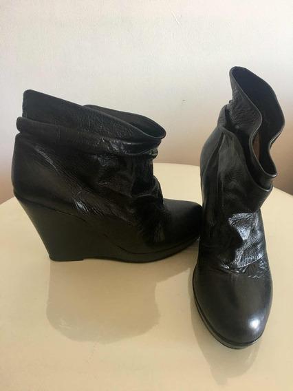 Botas Caña Corta De Cuero Negro T40 Sibyl Vane -