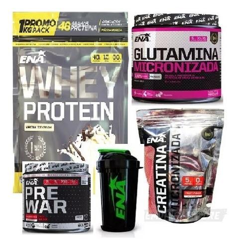Combo Ena(whey Protein X1kg+glutamina+creatina+pre War+vaso)