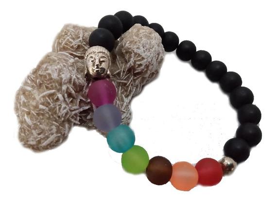 Pulsera De Chakras Con Dije De Buda En Color Plata