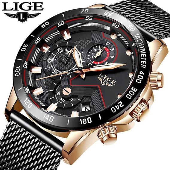Relógio Masculino Casual De Luxo Lige Preto