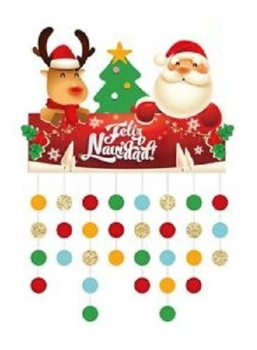 Cortina Lluvia Navideña Circulos 70x37cm Decoracion Navidad