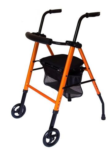 Andador Ortopedico Tijera C/ Ruedas Asiento Bolso Premium410