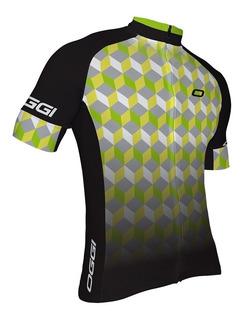 Camisa Ciclismo Bike Oggi Agile Cinza Verde Camiseta Elite