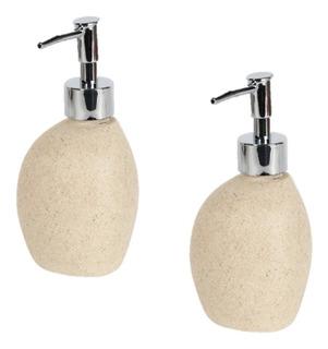 Paquete 2 Dispensador Dispenser Jabon Liquido Baño Piedra Decoracion Ideal Para Regalo