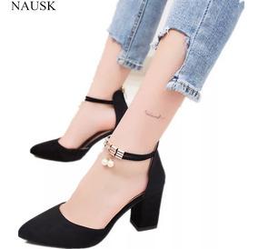 Sapato Scarpin Salto Médio Quadrado Importado