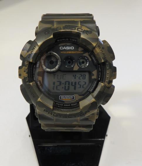 Relógio Casio G-shock Gd-120cm-5dr Semi Novo Verde Camuflado