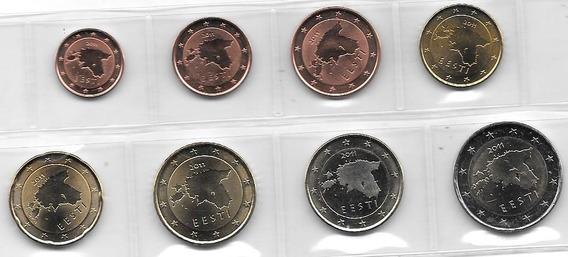 Serie 8 Monedas Euro Estonia Año 2011 Sin Circular