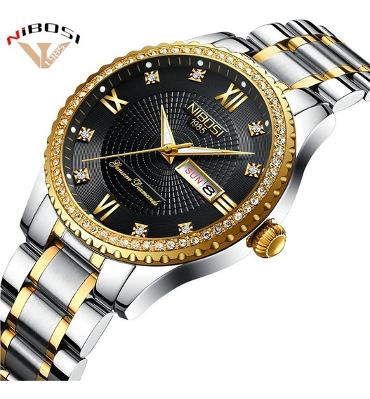 Relógio Nibosi Feminino Diamante Prata/dourado Fundo Preto