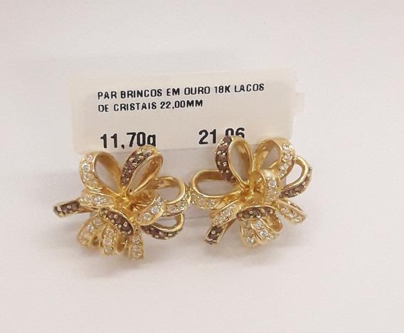 Brinco Em Ouro 18k Laço De Cristal 22,00mm 11,70g