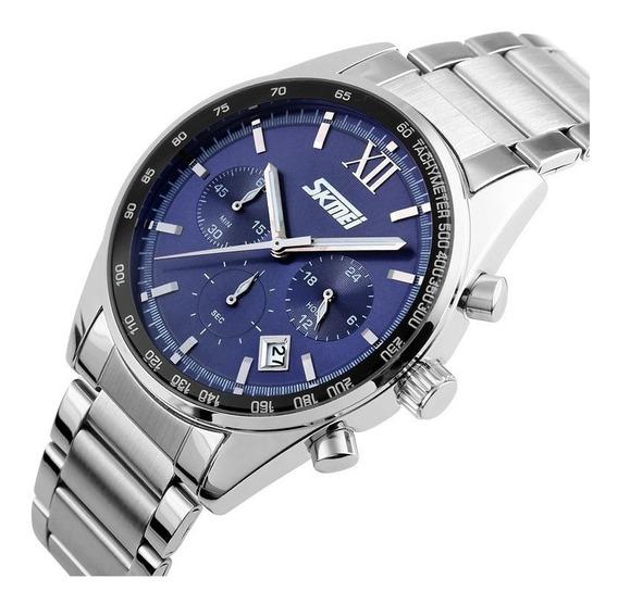 Relógio Masculino Skmei 9096 Prata Com Azul
