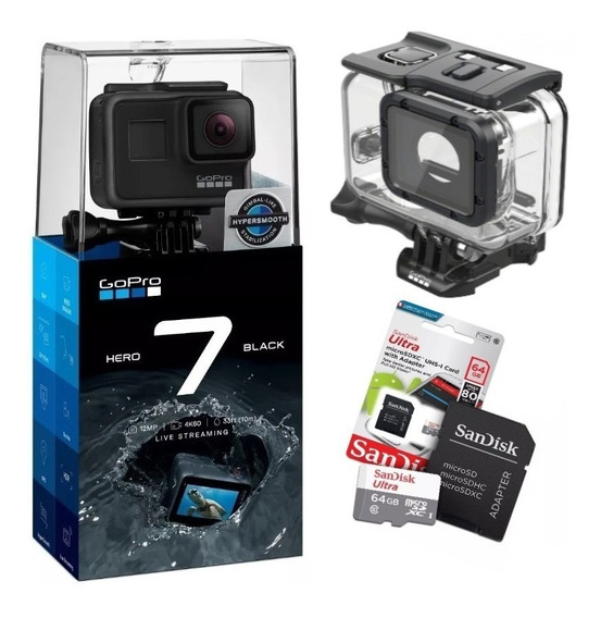 Gopro Hero7 Black+ultra 64gb+caixa Estanque Gopro Original