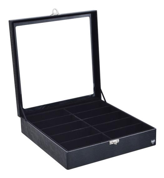 Caixa Organizadora Estojo Porta 10 Óculos Couro Ecológico.