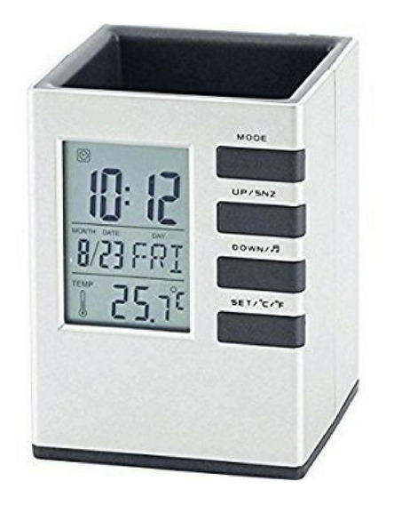 Porta Caneta Lápis Calendário Digital Termômetro Relógio Led