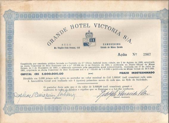 Brasil 1961 Ação Portador Grande Hotel Victoria Cambuquira