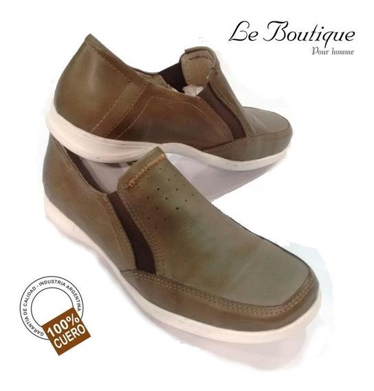 Zapato Náutico C/elástico Cuero Color Verde Musgo Foot Notes 261