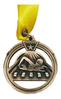 Medalla Metálica Para Natación Color Oro Viejo