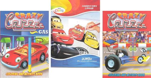 Imagen 1 de 3 de Cars Libro Colorear Iluminar Jumbo Disney