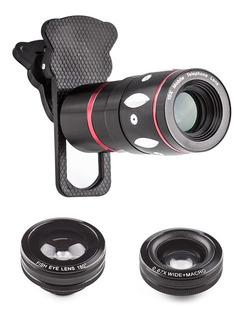 Lente Celular Universal 4in1 Telescopica Zoom 10x Fisheye