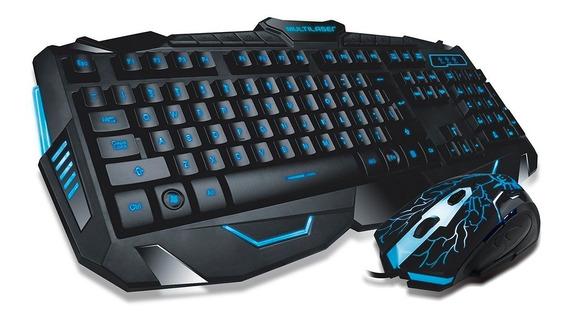 Combo Teclado E Mouse Gamer Com Fio Detalhe Azul Multilaser