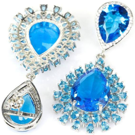 Brinco Feminino Zircônia Topázio Azul Grande Luxo